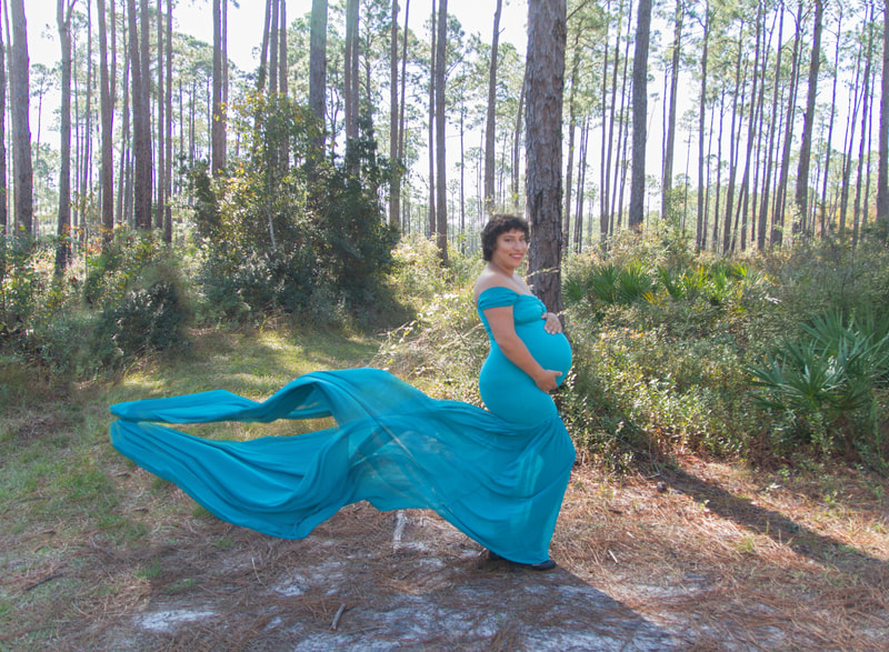 Pensacola, Maternity gown, blue maternity gown, tarklin bayou, woods
